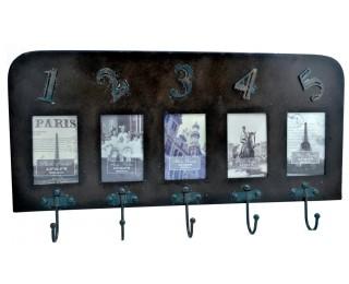obrázek Nástěnný kovový věšák vintage s 5 háčky
