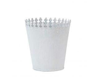obrázek Plechový obal na květináč bílý