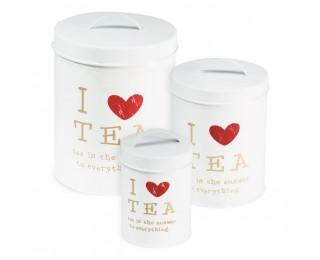obrázek Sada 3 plechových dóz I love tea