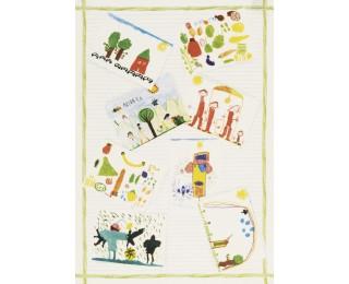 obrázek Lněná kuchyňská utěrka dětské kresby