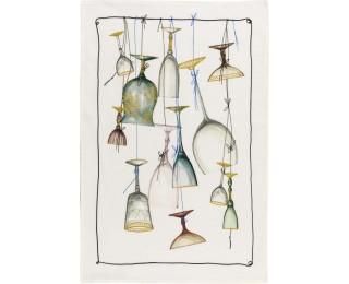 obrázek Lněná kuchyňská utěrka sklenice