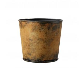 obrázek Kovový obal na květináč antik žlutý S
