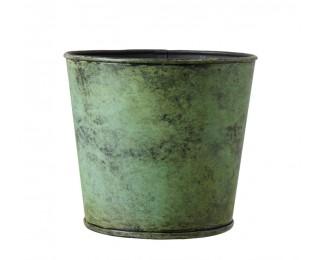 obrázek Kovový obal na květináč antik zelený M
