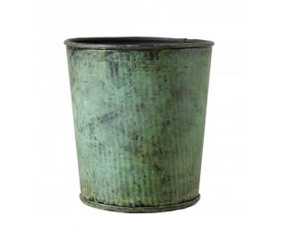 obrázek Kovový obal na květináč antik zelený S
