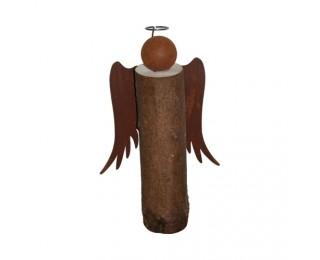 obrázek Dřevěný anděl s kovovými křídly 25 cm