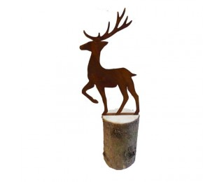 obrázek Jelen kovový na špalku 22 cm