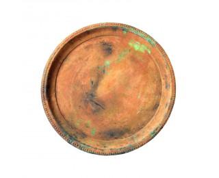 obrázek Kulatý žlutý tác antik kovový