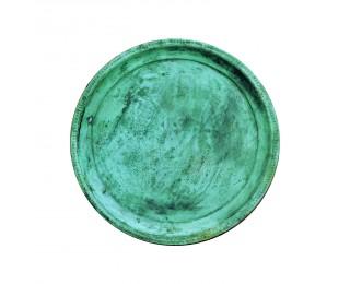 obrázek Kulatý zelený tác antik kovový
