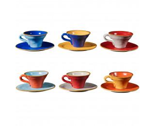 obrázek barevné hrnky na kávu s podšálkem