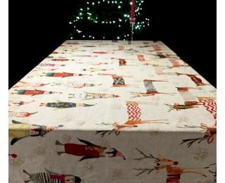 obrázek Vánoční lněný ubrus Vánoce na pólu