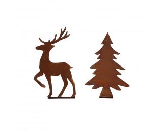 obrázek Stromeček a jelen s rezavou patinou malá sada