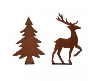 obrázek Stromeček a jelen s rezavou patinou velká sada