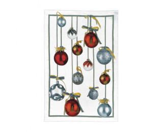 obrázek Kuchyňská lněná utěrka vánoční koule červené