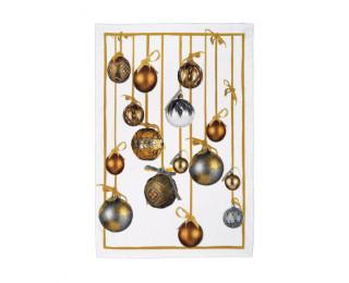 obrázek Kuchyňská lněná utěrka vánoční koule zlaté