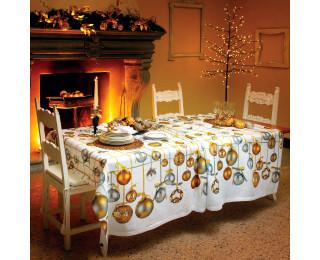 obrázek Vánoční lněný ubrus vánoční koule zlaté