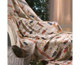 obrázek Vánoční přehoz lněný Vánoce na pólu