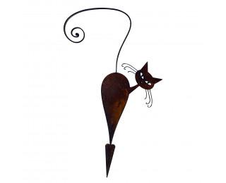 obrázek Kočka s rezavou patinou k zapíchnutí s hrotem