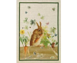 obrázek Lněná kuchyňská utěrka králík