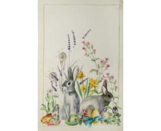 obrázek Lněná kuchyňská utěrka velikonoční králíčci