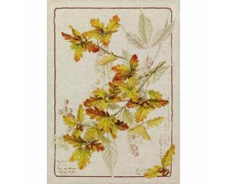 obrázek Lněná kuchyňská utěrka dubové listy