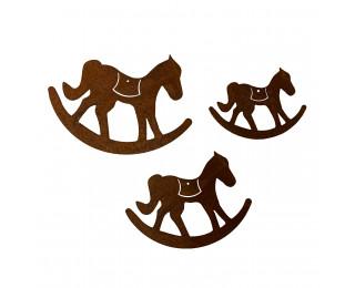 obrázek Závěsná dekorace houpací koník s rezavou patinou